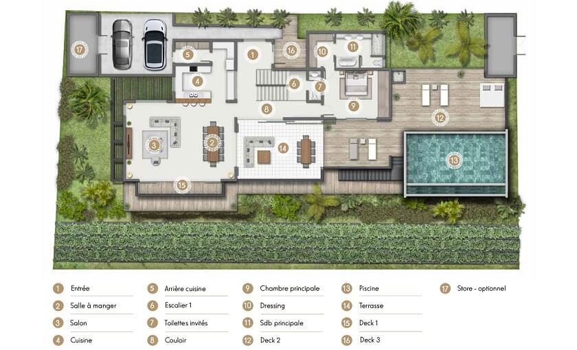 Villa Bengali Ile Maurice - Plan du rez de chaussé