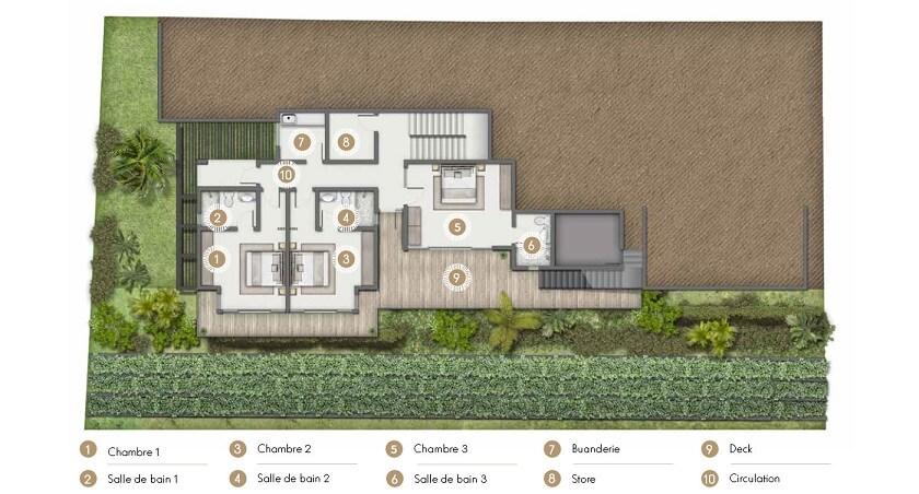 Villa Bengali Ile Maurice - Plan niveau 1
