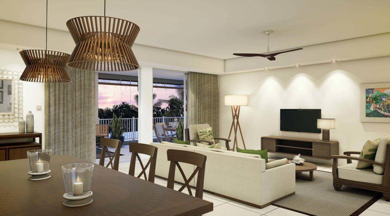 Appartement 3 chambres-Residence-Ile Maurice-Vue de la piece a vivre