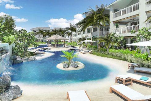 Appartement 3 chambres-Residence-Ile Maurice-Vue de la piscine