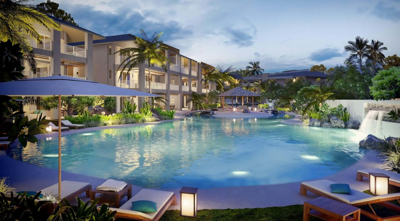 Appartement 3 chambres-Residence-Ile Maurice-Vue de la piscine le soir