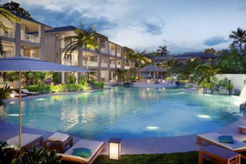 Appartement-3-chambres-Residence-Ile-Maurice-Vue-de-la-piscine-le-soir